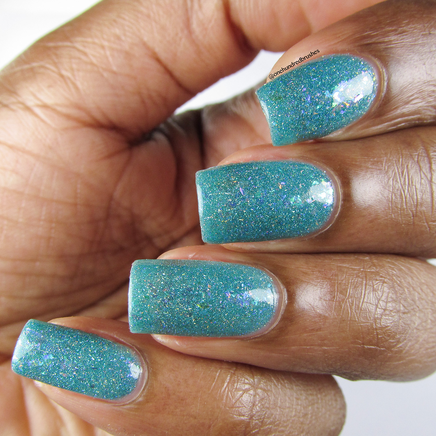 Hubble'd Together - Angle - KBShimmer - Polish Pickup April 2018 - glow in the dark - jelly polish - unicorn flakes