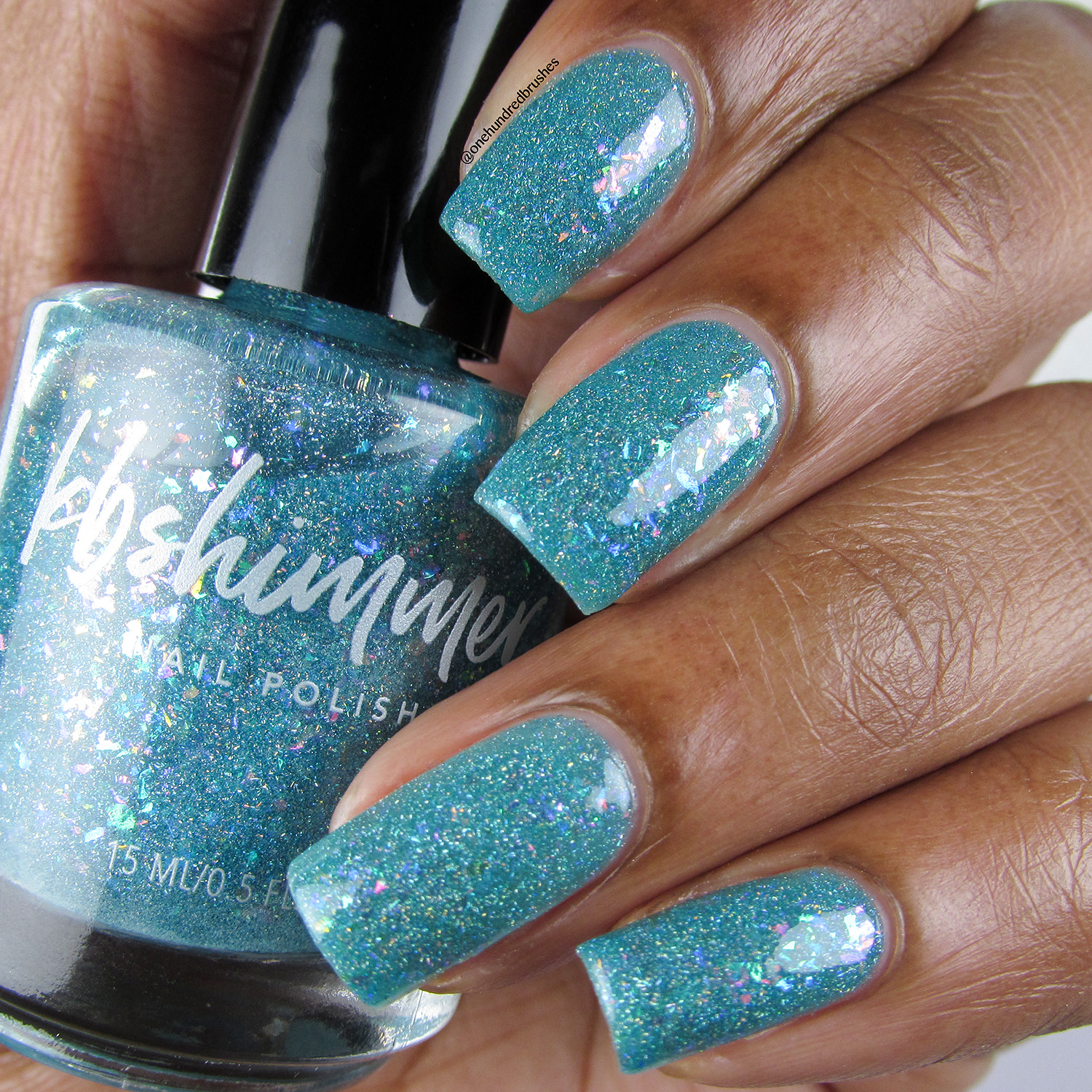 Hubble'd Together - Bottle Side - KBShimmer - Polish Pickup April 2018 - glow in the dark - jelly polish - unicorn flakes