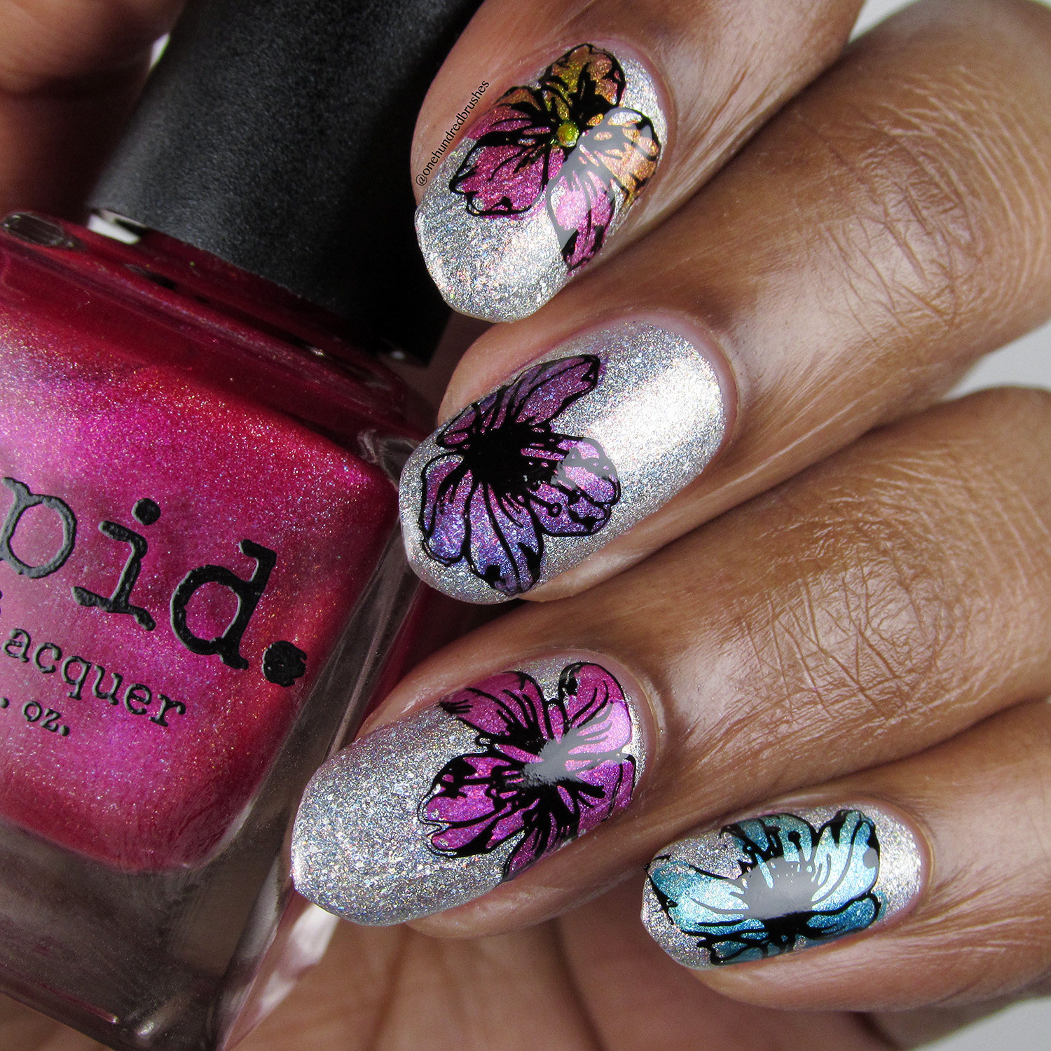Floral Stamping - bottle - Vapid - April 2018 Spring Release - Uberchic - gradient stamping