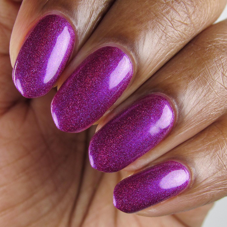 Hostile - closeup - Vapid Lacquer - April 2018 - Spring release - berry purple - linear holographic