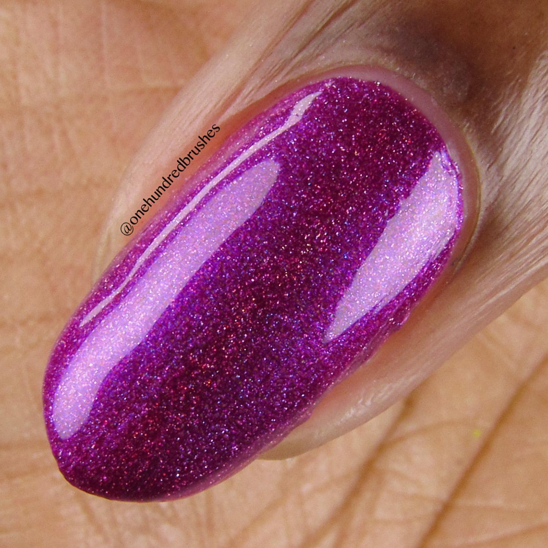Hostile - macro - Vapid Lacquer - April 2018 - Spring release - berry purple - linear holographic