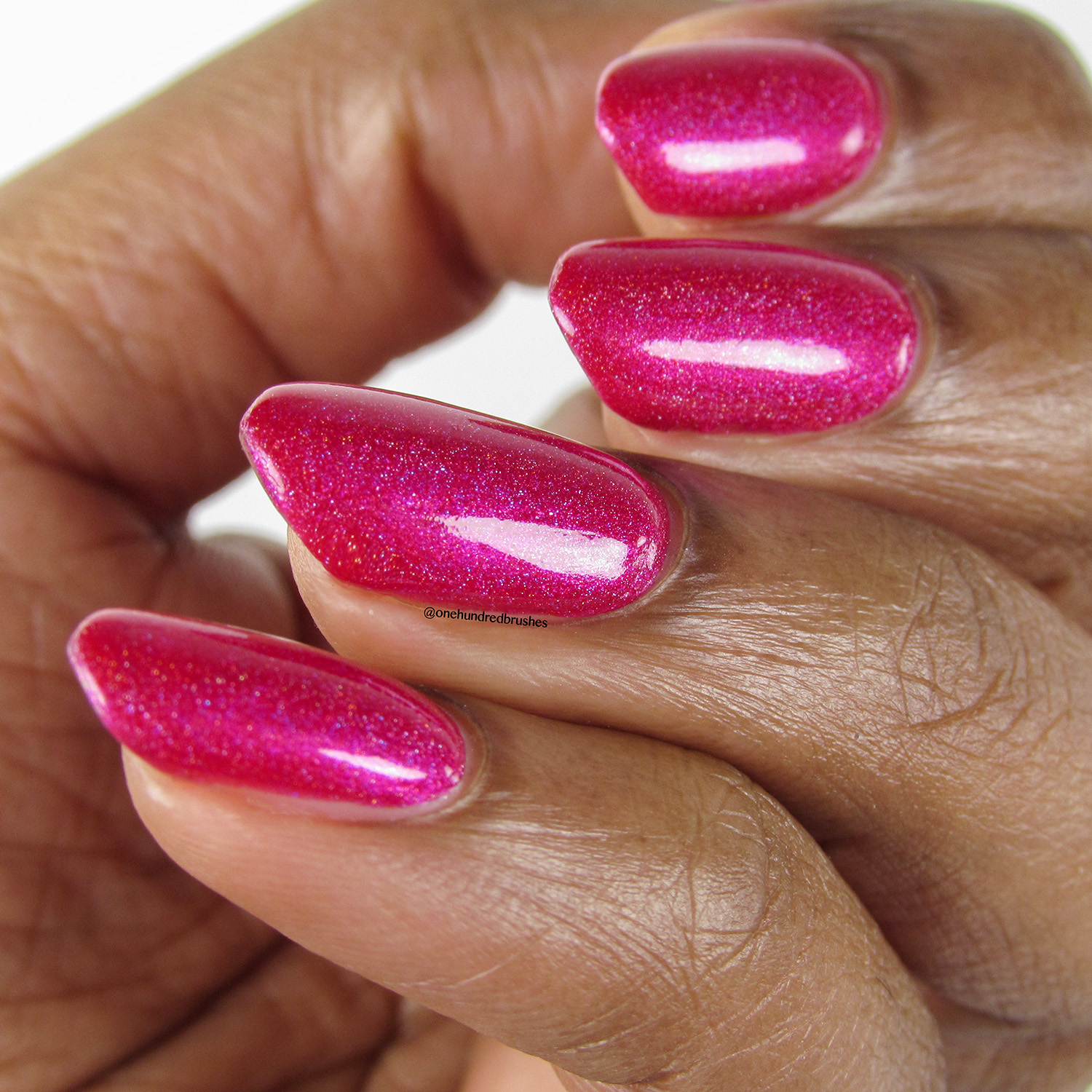 Tantrum - angle - Vapid Lacquer - April 2018 - Spring release - fuschia pink - linear holographic