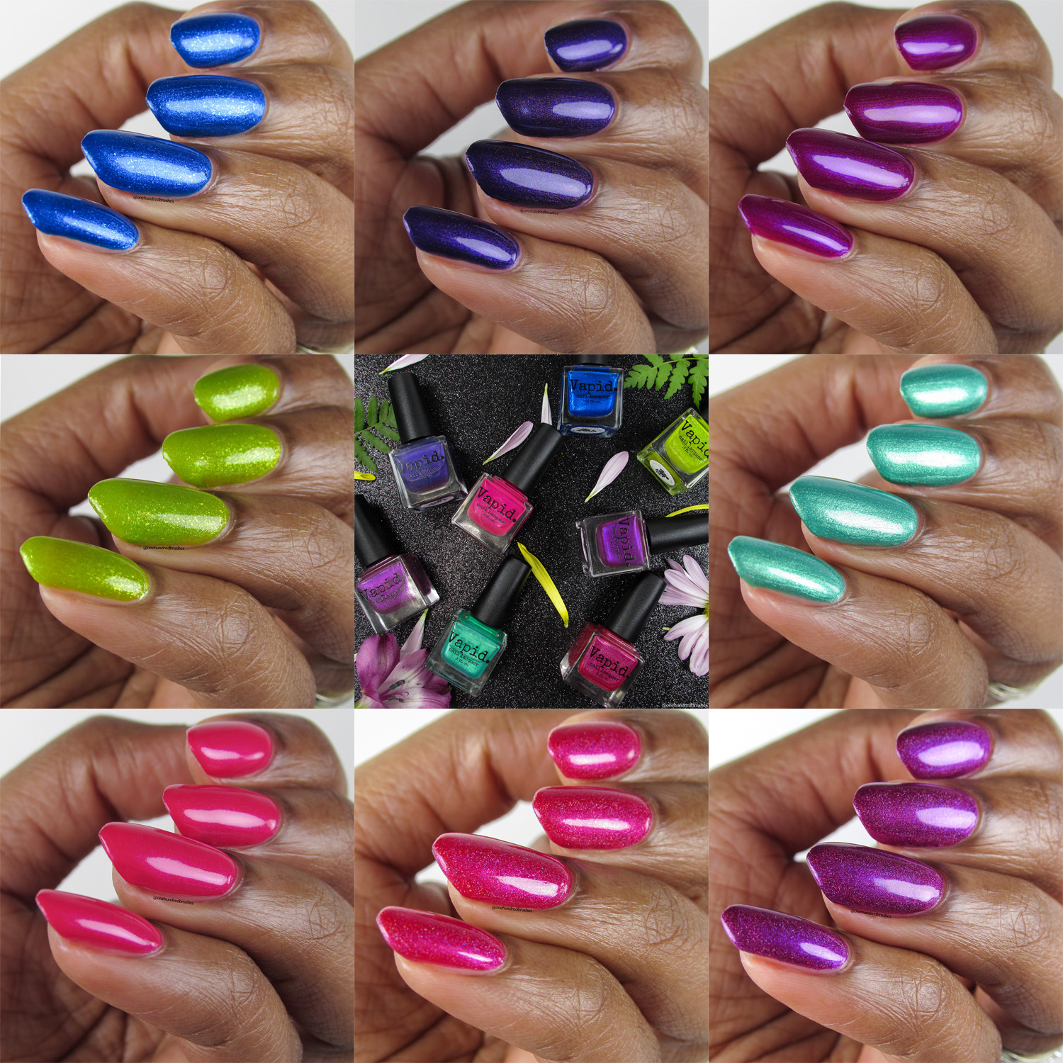 Vapid April 2018 Releases Angle collage, spring polishes, shimmer polishes, holographic,