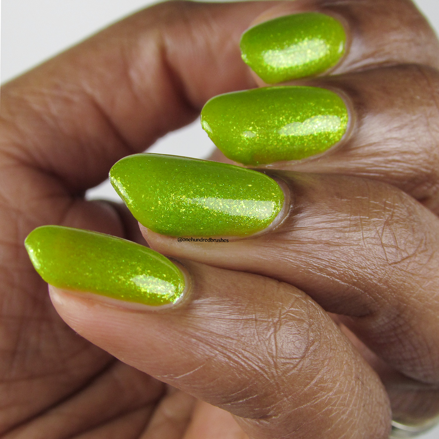 Venus Fly Trap - angle - Vapid Lacquer - April 2018 - Spring release - yellow - green - chartreuse - yellow shimmer