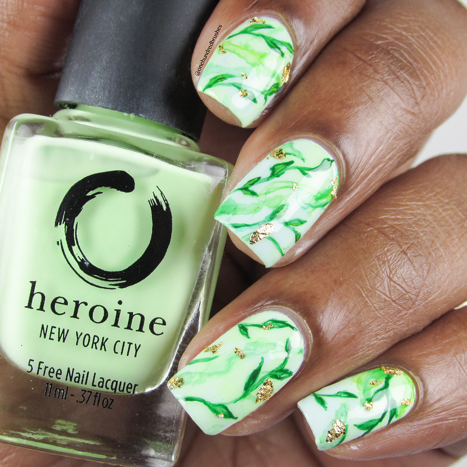 Leaves and Gold Leaf on Green Gradient - Bottle Front - Heroine NYC - Sublime - Empowermint - leaves - gold