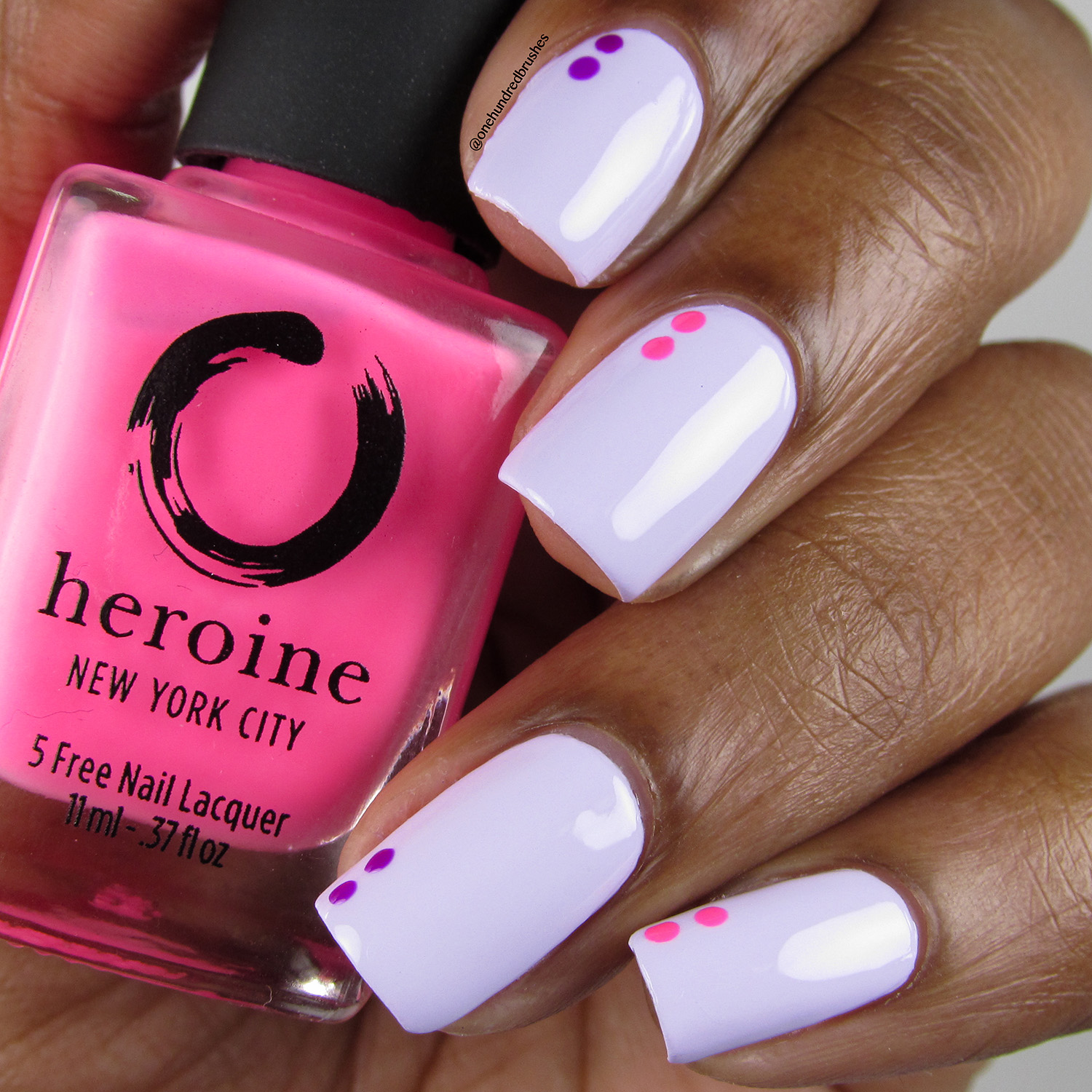 Two Dot Mani on Lilac It w T-M-N and Mean Girl - Bottle front - Heroine NYC