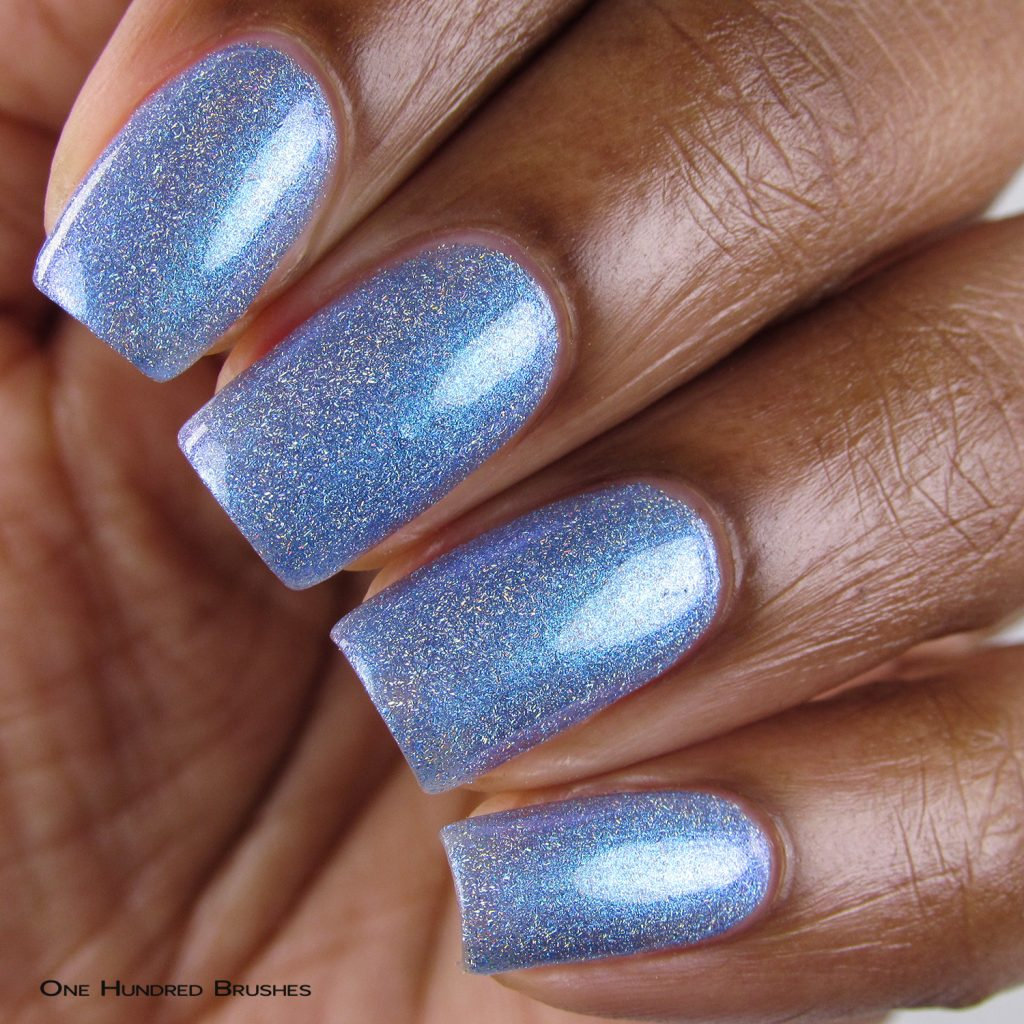 color shifting shimmer takes this polish from blue, to aqua to lavender depending on the angel and lighting, while loads of micro holo flakes add a unique touch to the peaceful hue.