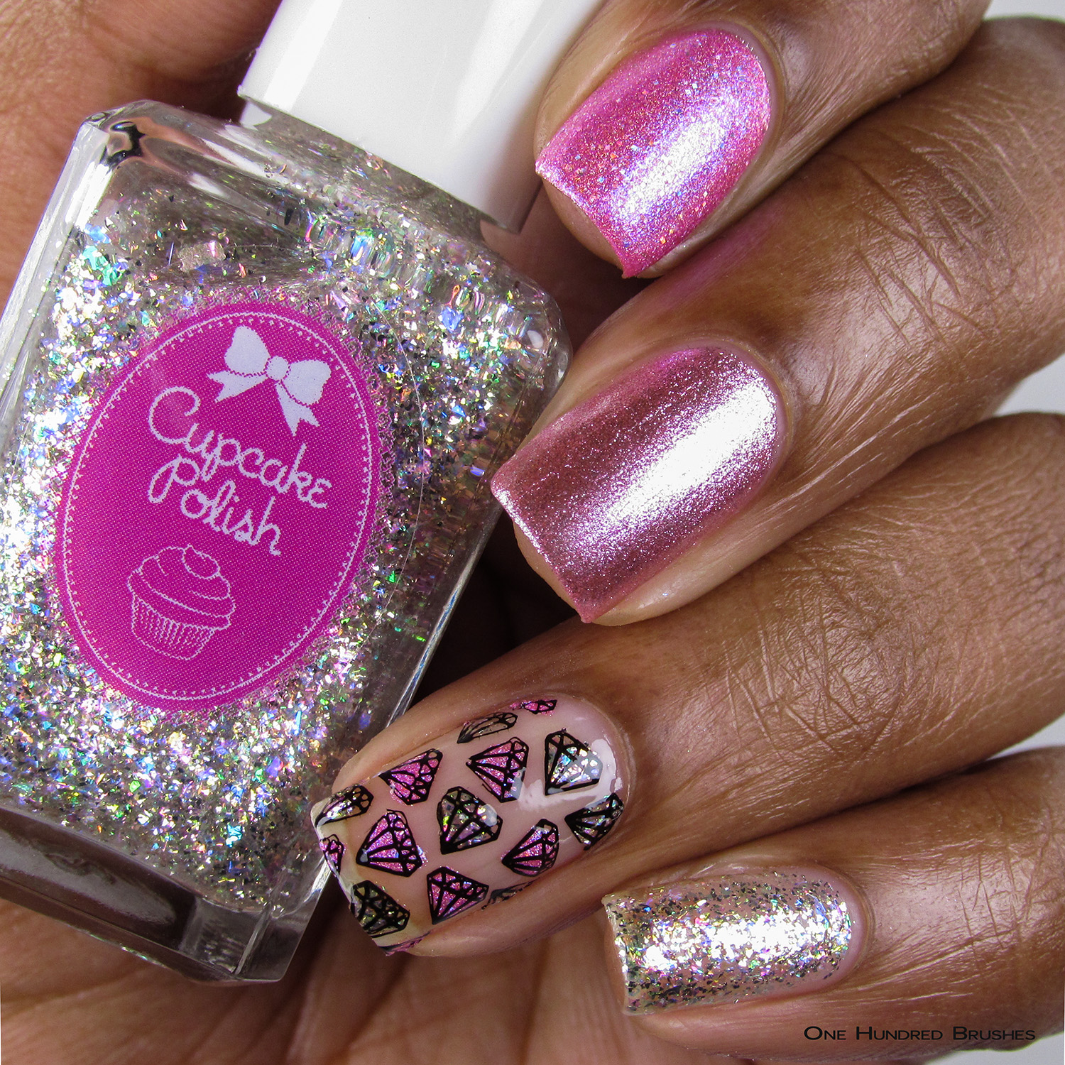 Celebrate 5 Years with Diamonds - Bottle Front - 5th Year Anniversary Trio - Cupcake Polish