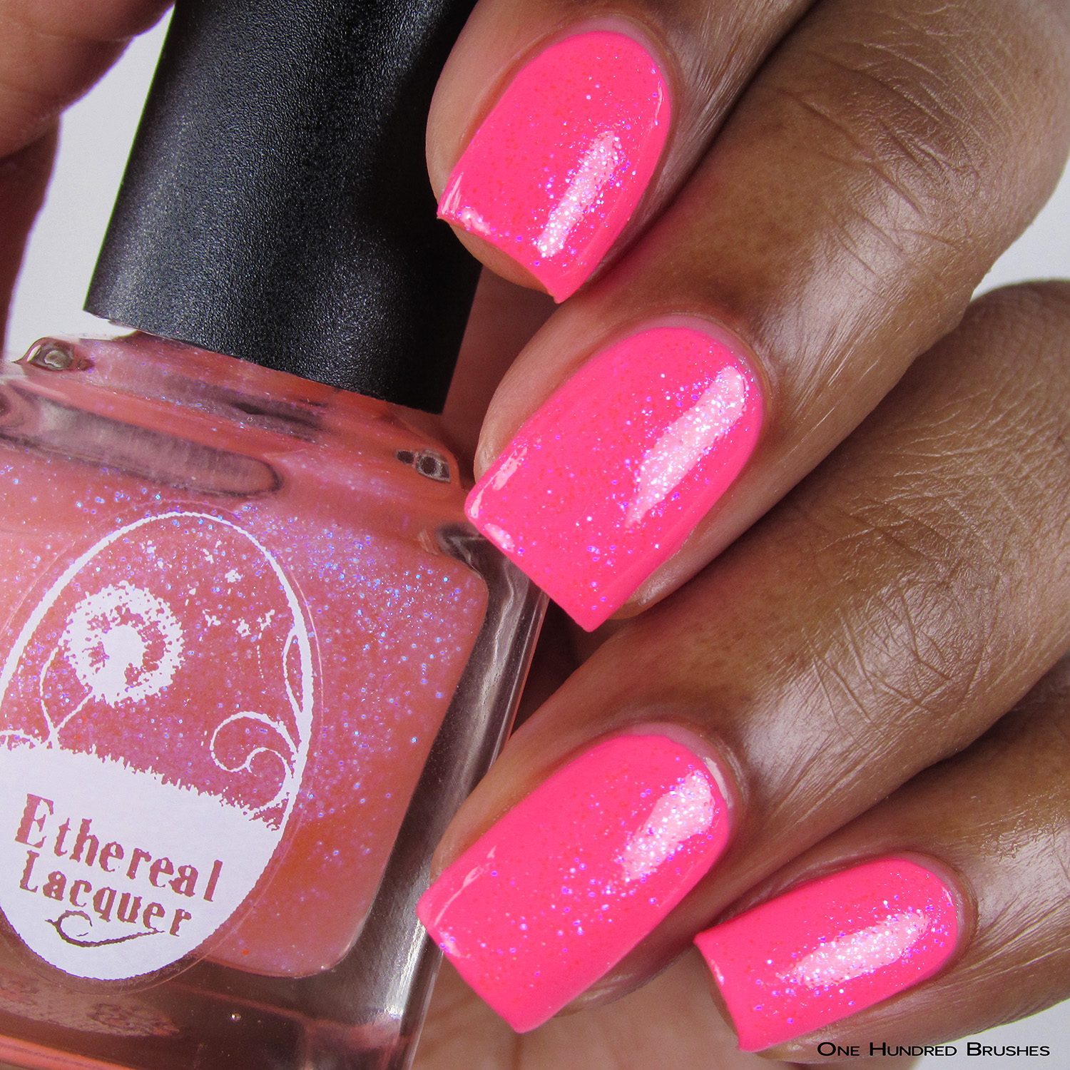 Eat Me, Drink Me - Bottle Front over Neon Pink - Ethereal Lacquer - July HHC