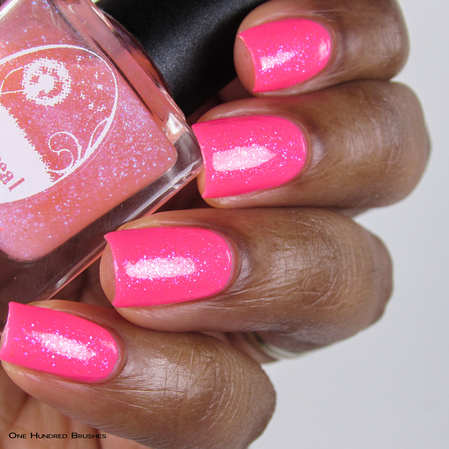 Eat Me, Drink Me - Bottle Side over Neon Pink - Ethereal Lacquer - July HHC