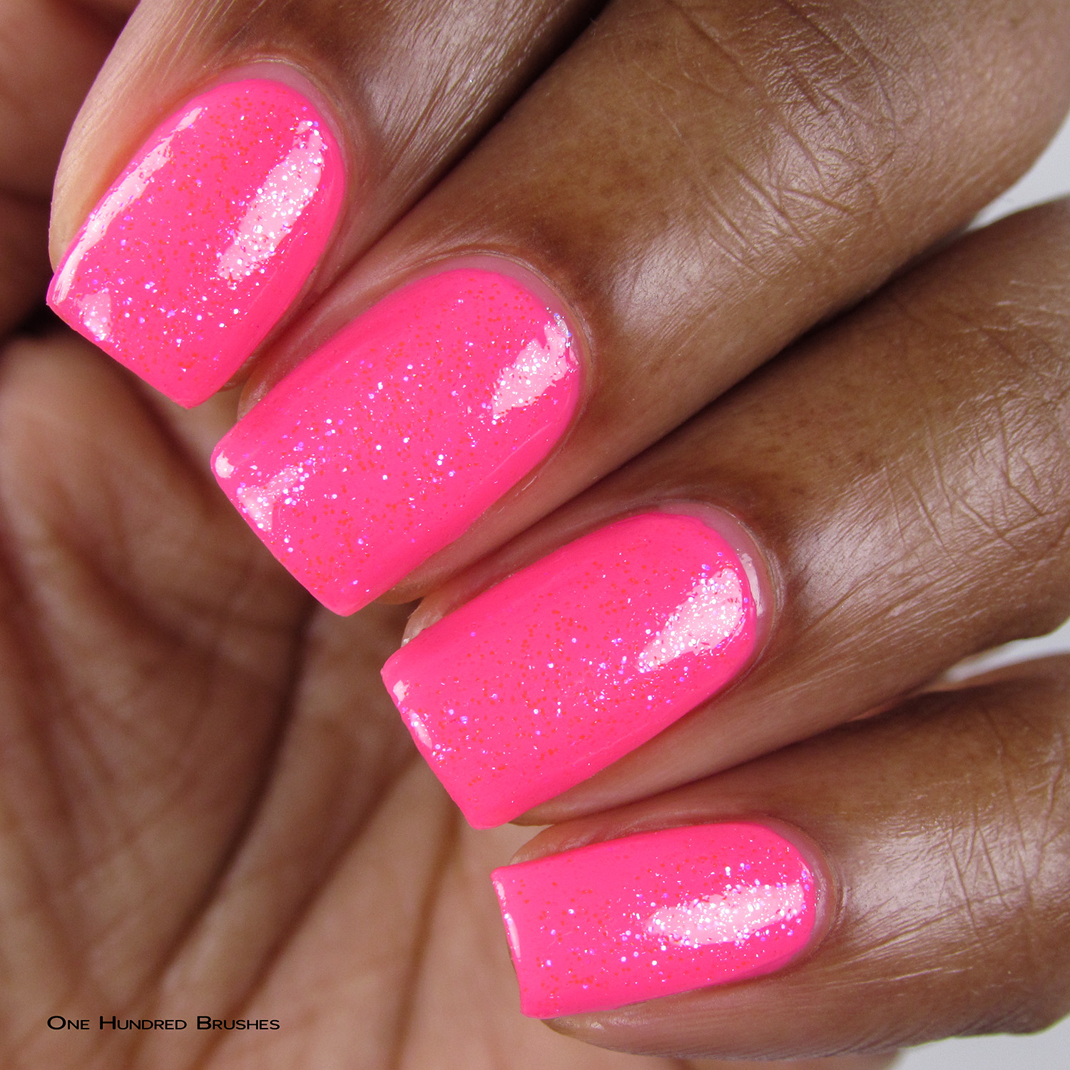 Eat Me, Drink Me - Closeup over Neon Pink - Ethereal Lacquer - July HHC