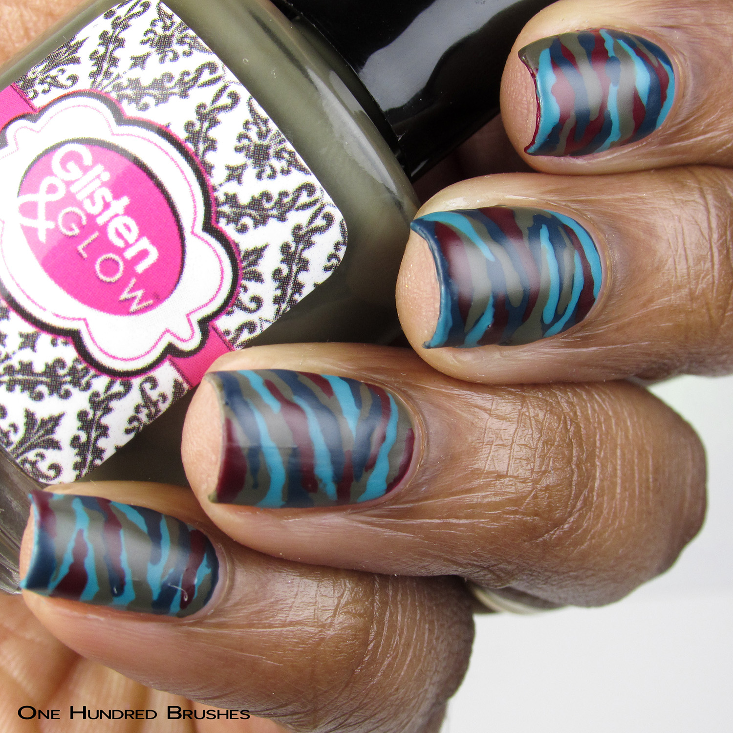 Camo Nail Art - Bottle Front - Glisten & Glow - Tributes to the Troops Sep 2019