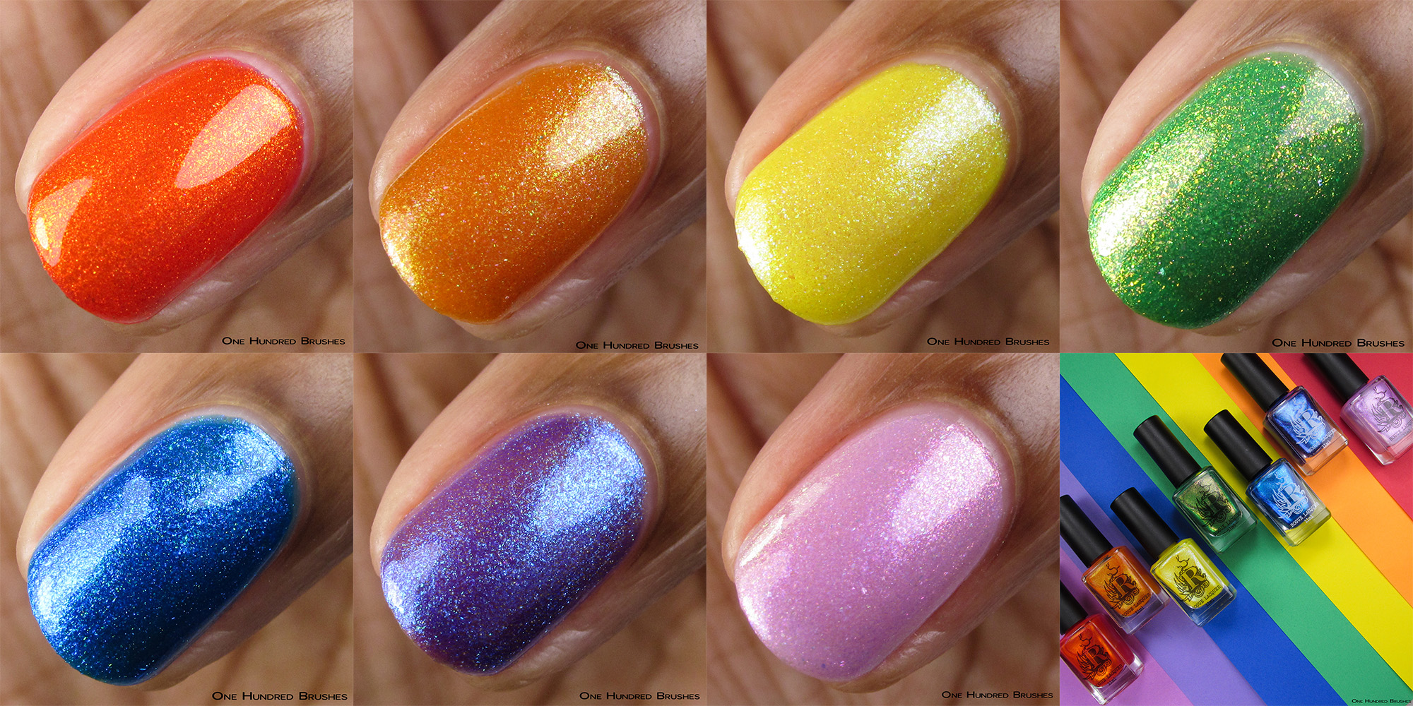 Closeup Collage - Happy Happy Rainbow Collection - Rogue Lacquer