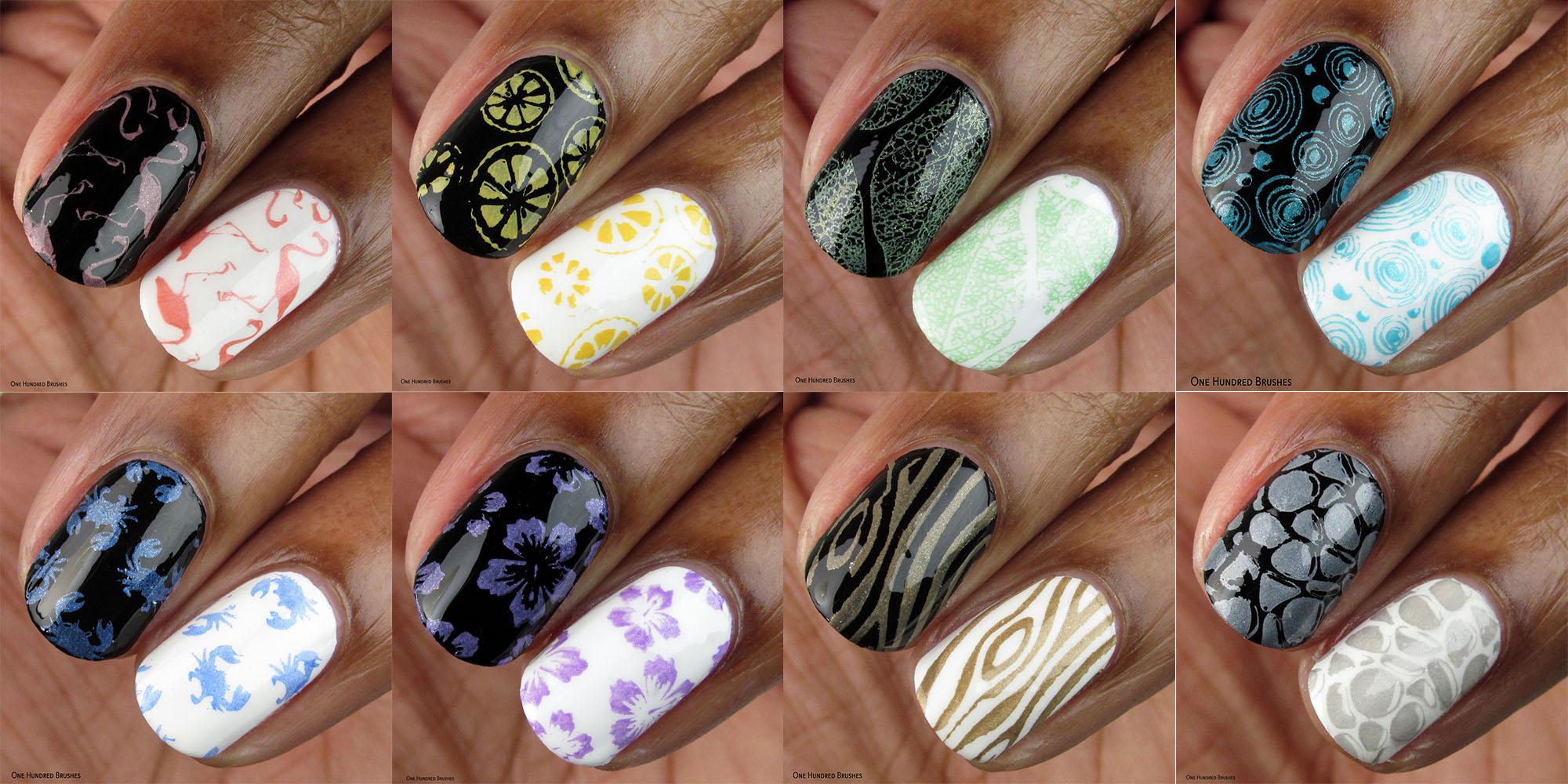 Macro Stamped Collage - Moonflower Polish - Pastel Cremes Spring 2020